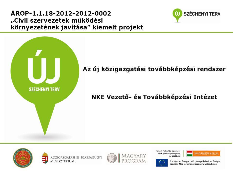 """ÁROP-1.1.18-2012-2012-0002 """"Civil szervezetek működési környezetének javítása"""" kiemelt projekt Az új közigazgatási továbbképzési rendszer NKE Vezető-"""