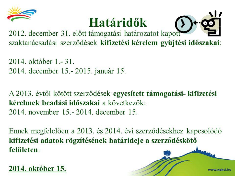 Határidők 2012.december 31.