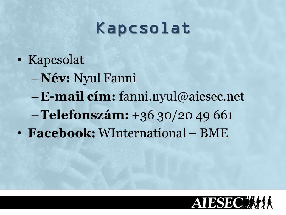 Kapcsolat Kapcsolat – Név: Nyul Fanni – E-mail cím: fanni.nyul@aiesec.net – Telefonszám: +36 30/20 49 661 Facebook: WInternational – BME
