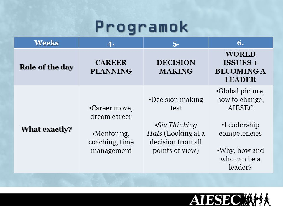 Programok Weeks4.5.6. Role of the day CAREER PLANNING DECISION MAKING WORLD ISSUES + BECOMING A LEADER What exactly? Career move, dream career Mentori