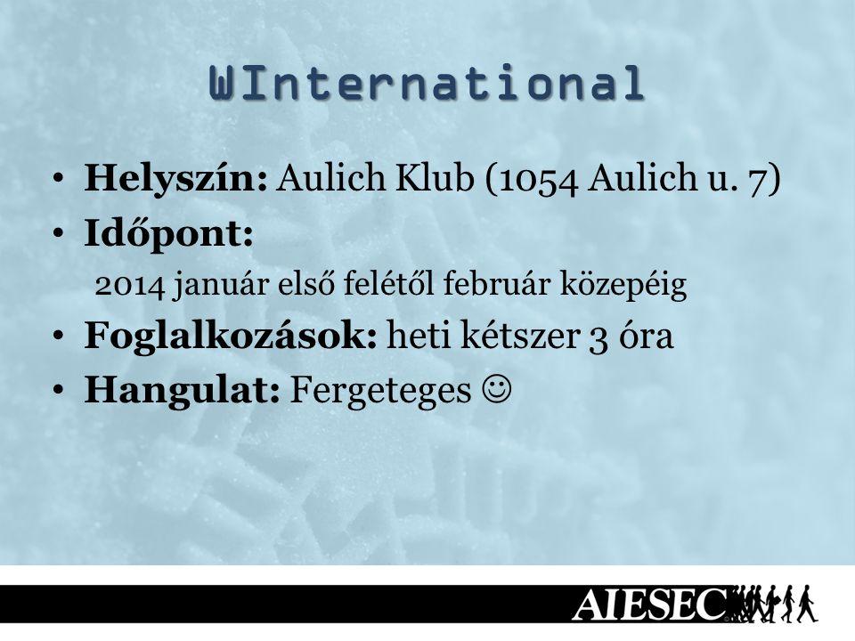 WInternational Helyszín: Aulich Klub (1054 Aulich u. 7) Időpont: 2014 január első felétől február közepéig Foglalkozások: heti kétszer 3 óra Hangulat: