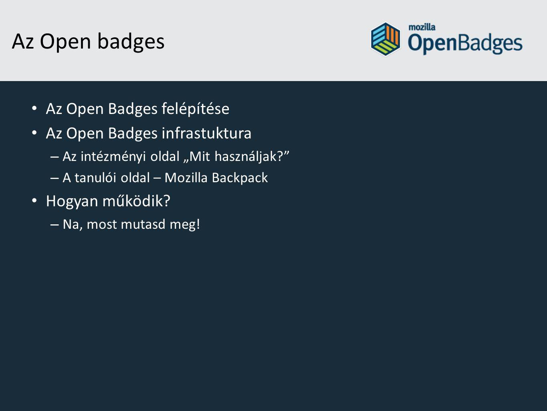 """Az Open badges Az Open Badges felépítése Az Open Badges infrastuktura – Az intézményi oldal """"Mit használjak? – A tanulói oldal – Mozilla Backpack Hogyan működik."""