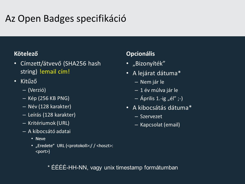 Az Open Badges specifikáció Kötelező Címzett/átvevő (SHA256 hash string) !email cím.