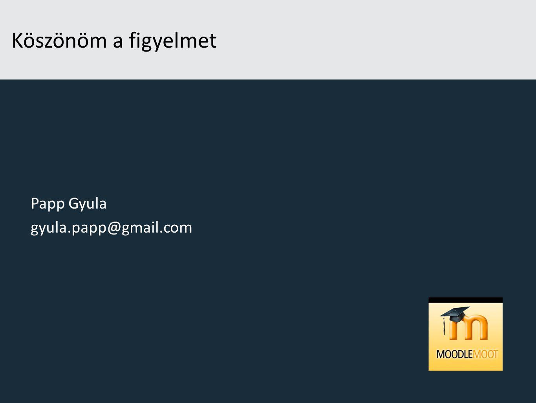 Köszönöm a figyelmet Papp Gyula gyula.papp@gmail.com