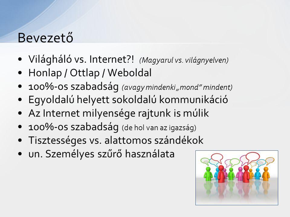 Világháló vs. Internet . (Magyarul vs.