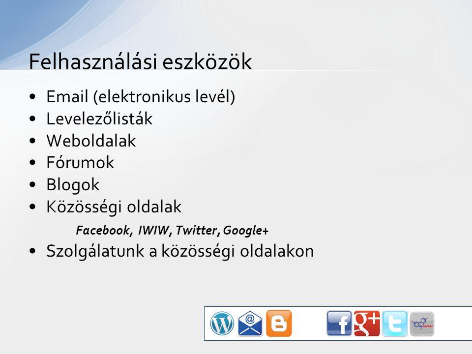 Email (elektronikus levél) Levelezőlisták Weboldalak Fórumok Blogok Közösségi oldalak Facebook, IWIW, Twitter, Google+ Szolgálatunk a közösségi oldalakon Felhasználási eszközök