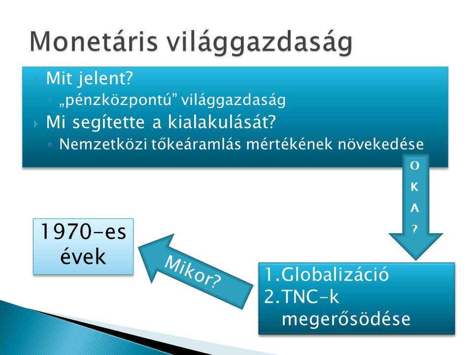 """ Mit jelent. ◦ """"pénzközpontú világgazdaság  Mi segítette a kialakulását."""