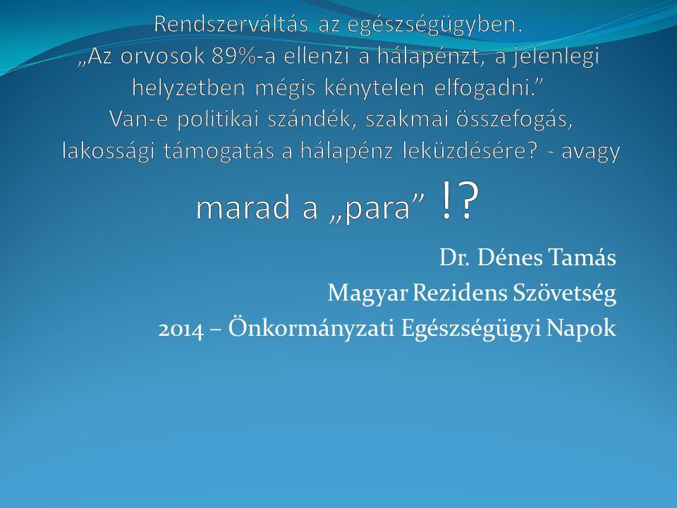 Dr. Dénes Tamás Magyar Rezidens Szövetség 2014 – Önkormányzati Egészségügyi Napok