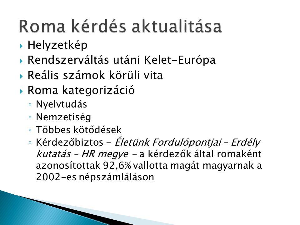  Helyzetkép  Rendszerváltás utáni Kelet-Európa  Reális számok körüli vita  Roma kategorizáció ◦ Nyelvtudás ◦ Nemzetiség ◦ Többes kötődések ◦ Kérdezőbiztos - Életünk Fordulópontjai – Erdély kutatás – HR megye - a kérdezők által romaként azonosítottak 92,6% vallotta magát magyarnak a 2002-es népszámláláson