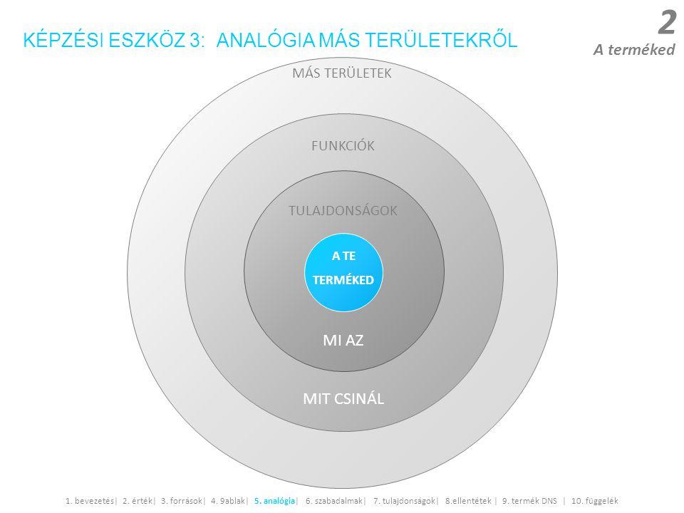 2 A terméked 1. bevezetés| 2. érték| 3. források| 4. 9ablak| 5. analógia| 6. szabadalmak| 7. tulajdonságok| 8.ellentétek | 9. termék DNS | 10. függelé