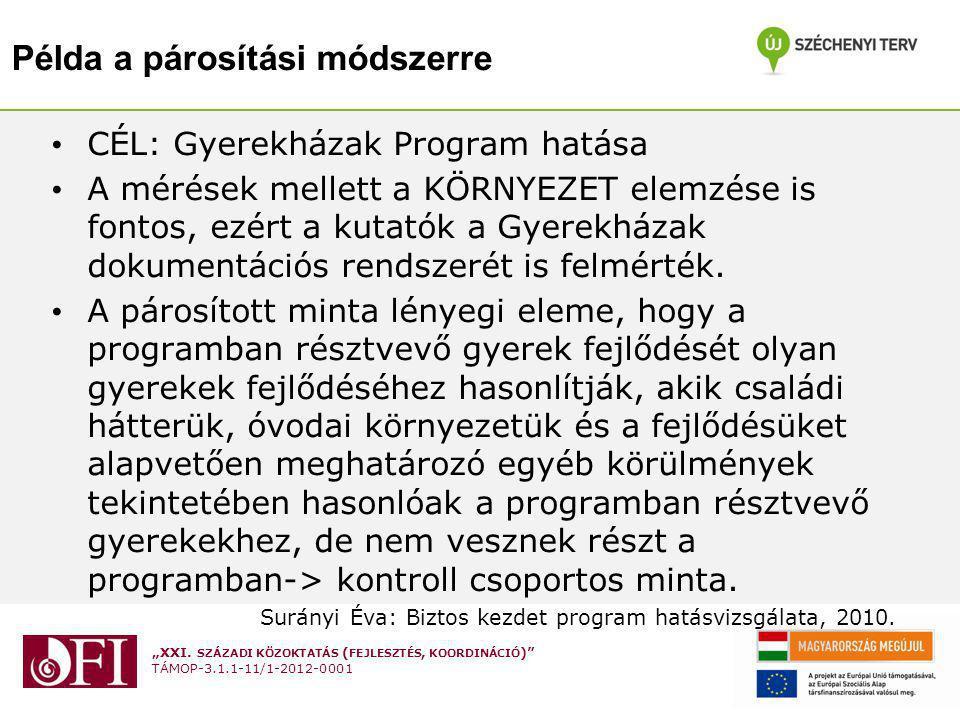 """""""XXI. SZÁZADI KÖZOKTATÁS ( FEJLESZTÉS, KOORDINÁCIÓ )"""" TÁMOP-3.1.1-11/1-2012-0001 Példa a párosítási módszerre CÉL: Gyerekházak Program hatása A mérése"""