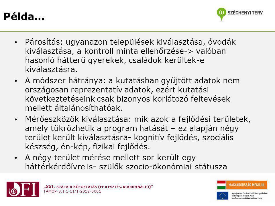 """""""XXI. SZÁZADI KÖZOKTATÁS ( FEJLESZTÉS, KOORDINÁCIÓ )"""" TÁMOP-3.1.1-11/1-2012-0001 Példa… Párosítás: ugyanazon települések kiválasztása, óvodák kiválasz"""
