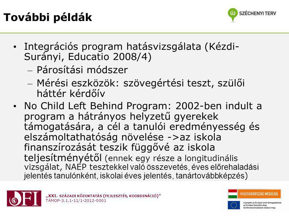 """""""XXI. SZÁZADI KÖZOKTATÁS ( FEJLESZTÉS, KOORDINÁCIÓ )"""" TÁMOP-3.1.1-11/1-2012-0001 További példák Integrációs program hatásvizsgálata (Kézdi- Surányi, E"""
