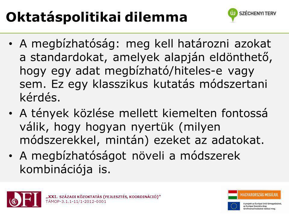 """""""XXI. SZÁZADI KÖZOKTATÁS ( FEJLESZTÉS, KOORDINÁCIÓ )"""" TÁMOP-3.1.1-11/1-2012-0001 Oktatáspolitikai dilemma A megbízhatóság: meg kell határozni azokat a"""