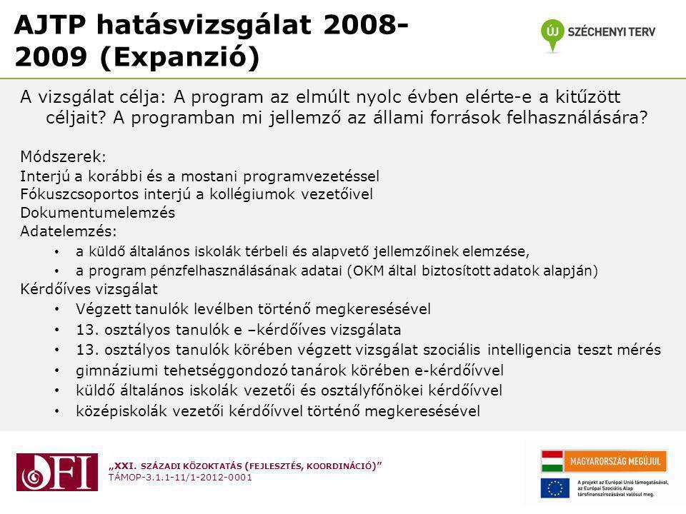 """""""XXI. SZÁZADI KÖZOKTATÁS ( FEJLESZTÉS, KOORDINÁCIÓ )"""" TÁMOP-3.1.1-11/1-2012-0001 AJTP hatásvizsgálat 2008- 2009 (Expanzió) A vizsgálat célja: A progra"""