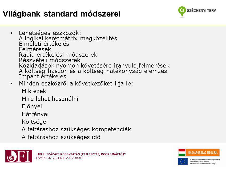 """""""XXI. SZÁZADI KÖZOKTATÁS ( FEJLESZTÉS, KOORDINÁCIÓ )"""" TÁMOP-3.1.1-11/1-2012-0001 Világbank standard módszerei Lehetséges eszközök: A logikai keretmátr"""