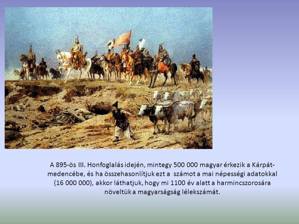 A 895-ös III. Honfoglalás idején, mintegy 500 000 magyar érkezik a Kárpát- medencébe, és ha összehasonlítjuk ezt a számot a mai népességi adatokkal (1