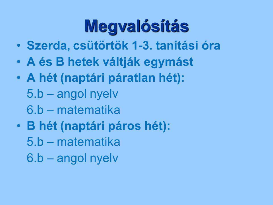 Megvalósítás Szerda, csütörtök 1-3. tanítási óra A és B hetek váltják egymást A hét (naptári páratlan hét): 5.b – angol nyelv 6.b – matematika B hét (