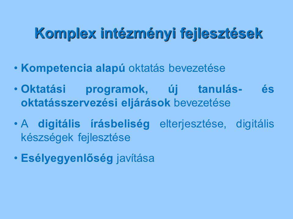 Komplex intézményi fejlesztések Komplex intézményi fejlesztések Kompetencia alapú oktatás bevezetése Oktatási programok, új tanulás- és oktatásszervez