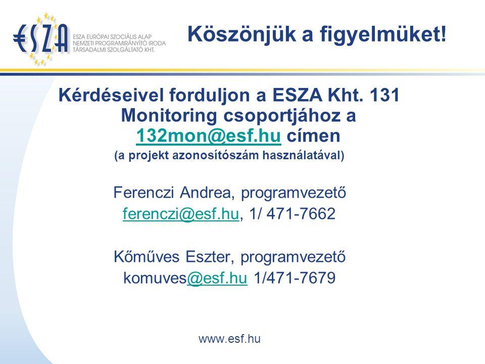 Köszönjük a figyelmüket. Kérdéseivel forduljon a ESZA Kht.