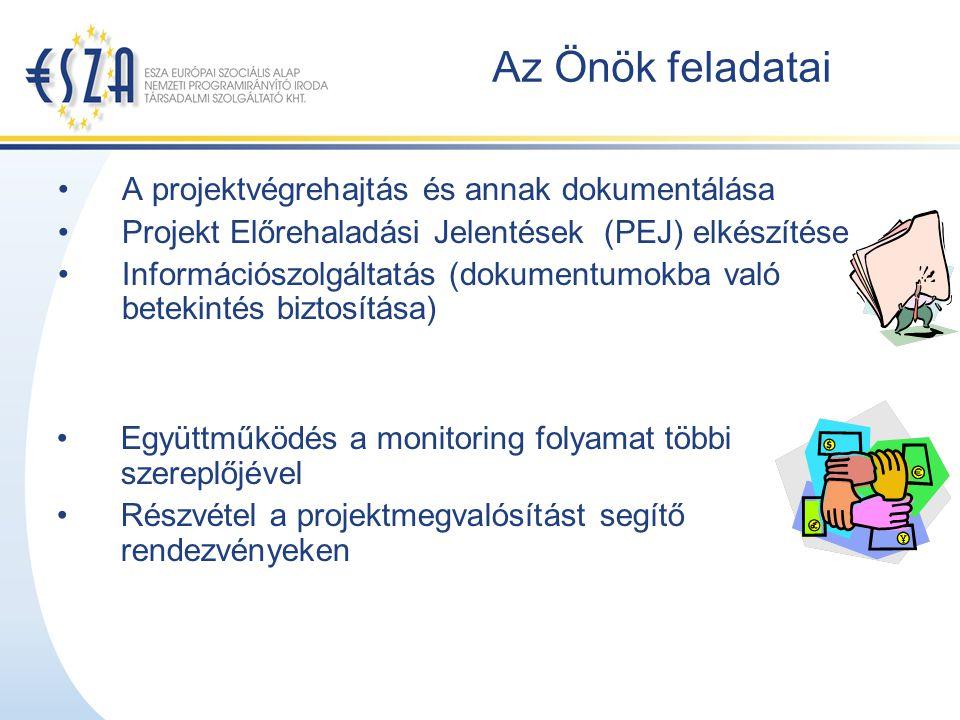 Az Önök feladatai A projektvégrehajtás és annak dokumentálása Projekt Előrehaladási Jelentések (PEJ) elkészítése Információszolgáltatás (dokumentumokba való betekintés biztosítása) Együttműködés a monitoring folyamat többi szereplőjével Részvétel a projektmegvalósítást segítő rendezvényeken