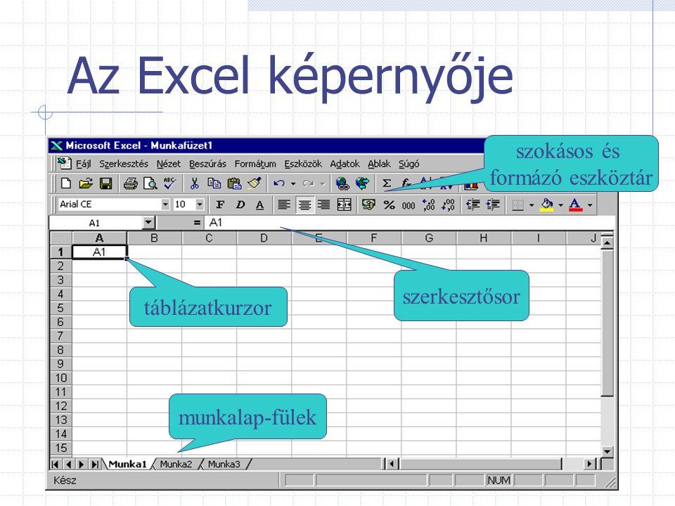 Az Excel képernyője munkalap-fülek szerkesztősor táblázatkurzor szokásos és formázó eszköztár