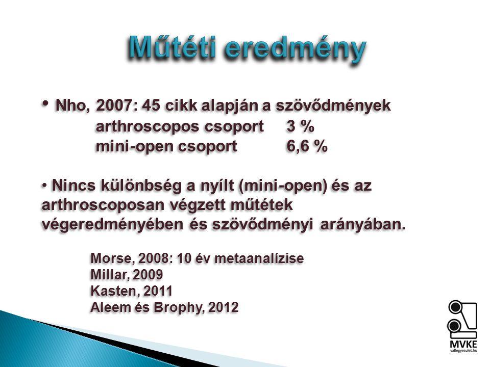 Nho, 2007: 45 cikk alapján a szövődmények arthroscopos csoport3 % mini-open csoport6,6 % Nincs különbség a nyílt (mini-open) és az arthroscoposan végzett műtétek végeredményében és szövődményi arányában.