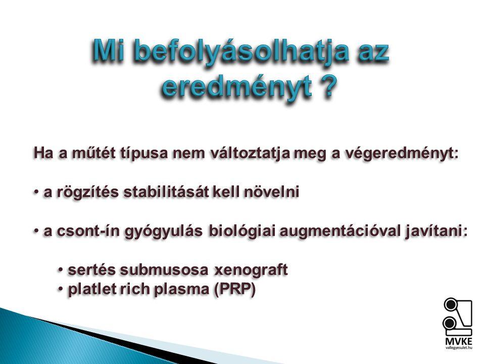Ha a műtét típusa nem változtatja meg a végeredményt: a rögzítés stabilitását kell növelni a csont-ín gyógyulás biológiai augmentációval javítani: sertés submusosa xenograft platlet rich plasma (PRP) Ha a műtét típusa nem változtatja meg a végeredményt: a rögzítés stabilitását kell növelni a csont-ín gyógyulás biológiai augmentációval javítani: sertés submusosa xenograft platlet rich plasma (PRP)