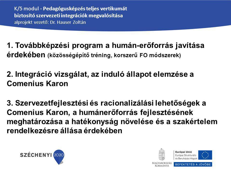 K/5 modul - Pedagógusképzés teljes vertikumát biztosító szervezeti integrációk megvalósítása alprojekt vezető: Dr. Hauser Zoltán 1. Továbbképzési prog