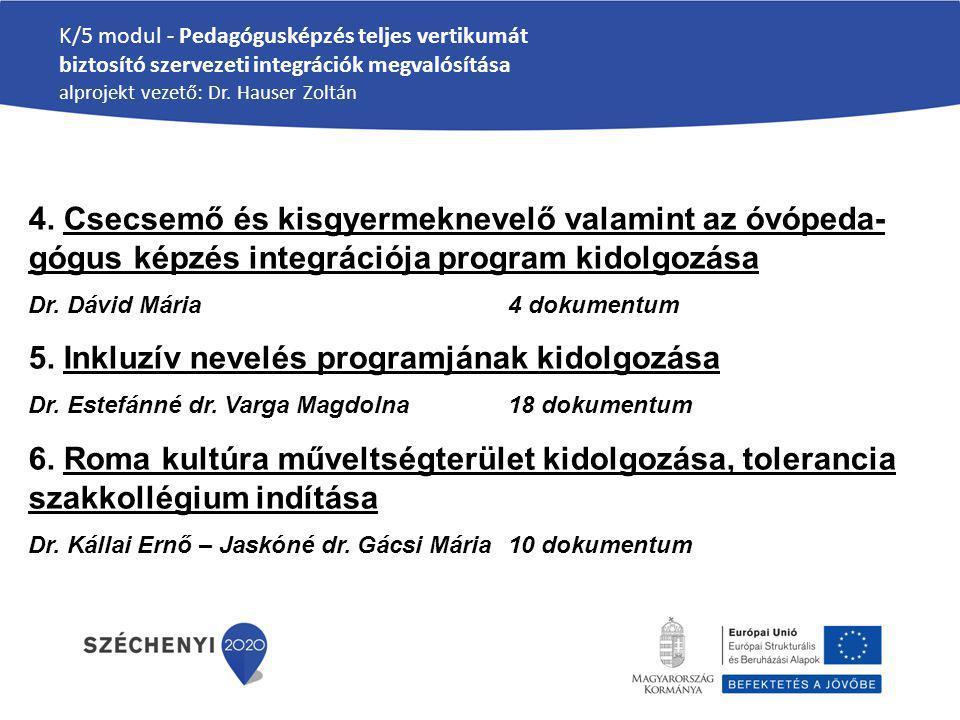 K/5 modul - Pedagógusképzés teljes vertikumát biztosító szervezeti integrációk megvalósítása alprojekt vezető: Dr. Hauser Zoltán 4. Csecsemő és kisgye