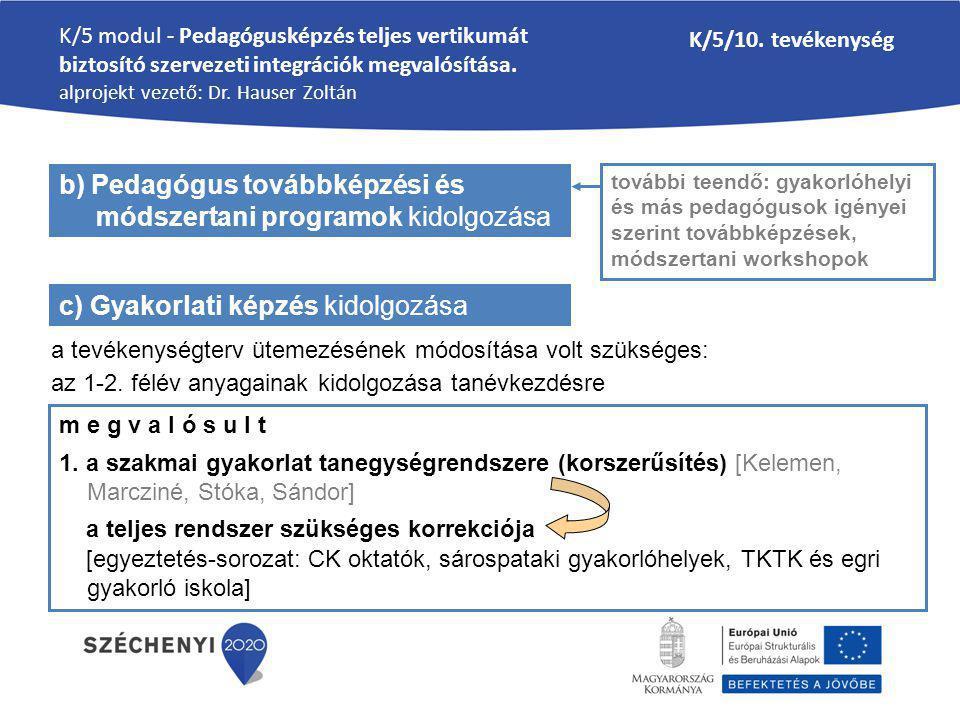 K/5 modul - Pedagógusképzés teljes vertikumát biztosító szervezeti integrációk megvalósítása.