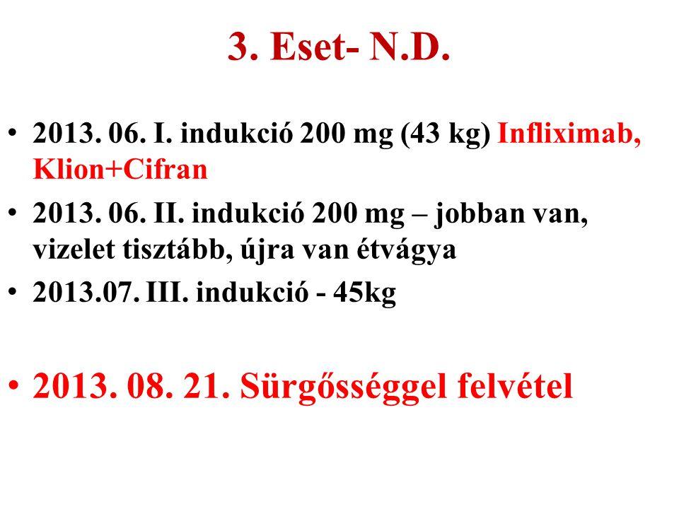 3. Eset- N.D. 2013. 06. I. indukció 200 mg (43 kg) Infliximab, Klion+Cifran 2013. 06. II. indukció 200 mg – jobban van, vizelet tisztább, újra van étv