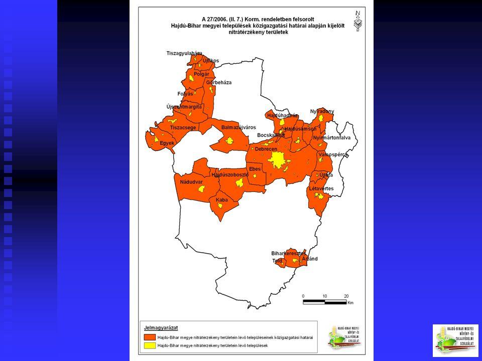 A vizek mezőgazdasági eredetű nitrátszennyezéssel szembeni védelméről szóló 27/2006. (II. 7.)Korm. rendelet előírásainak betartása (49/2001. (IV.3.) K
