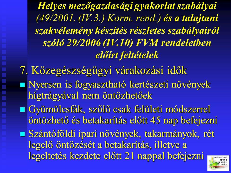 Helyes mezőgazdasági gyakorlat szabályai (49/2001. (IV.3.) Korm. rend.) és a talajtani szakvélemény készítés részletes szabályairól szóló 29/2006 (IV.