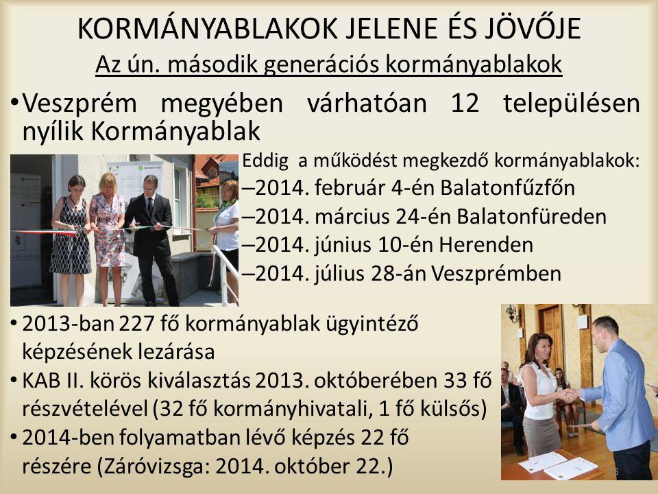 KORMÁNYABLAKOK JELENE ÉS JÖVŐJE Az ún. második generációs kormányablakok Veszprém megyében várhatóan 12 településen nyílik Kormányablak Eddig a működé