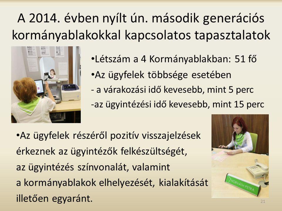 A 2014. évben nyílt ún. második generációs kormányablakokkal kapcsolatos tapasztalatok Létszám a 4 Kormányablakban: 51 fő Az ügyfelek többsége esetébe