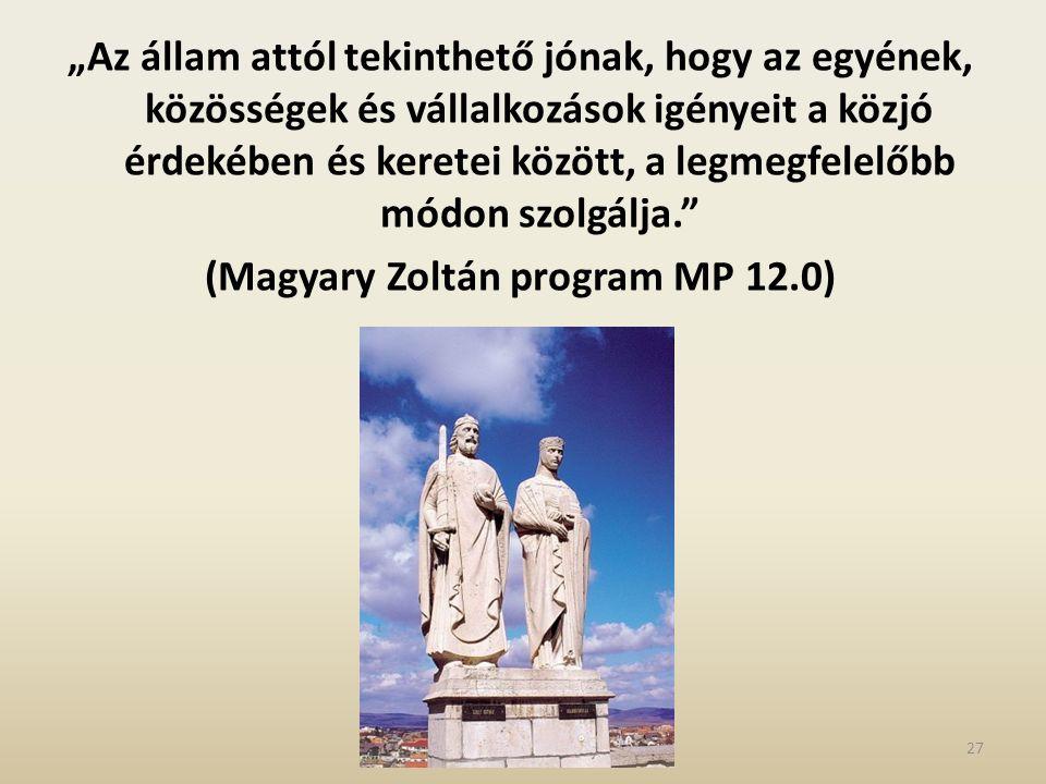 """""""Az állam attól tekinthető jónak, hogy az egyének, közösségek és vállalkozások igényeit a közjó érdekében és keretei között, a legmegfelelőbb módon szolgálja. (Magyary Zoltán program MP 12.0) 27"""