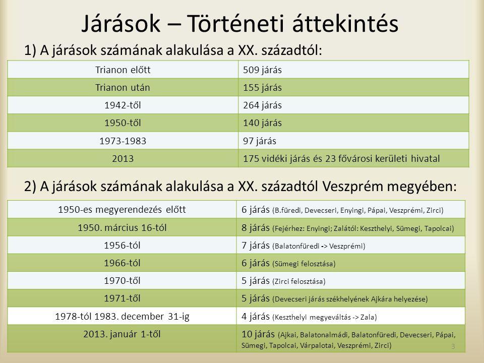 Járások – Történeti áttekintés 1) A járások számának alakulása a XX. századtól: Trianon előtt509 járás Trianon után155 járás 1942-től264 járás 1950-tő