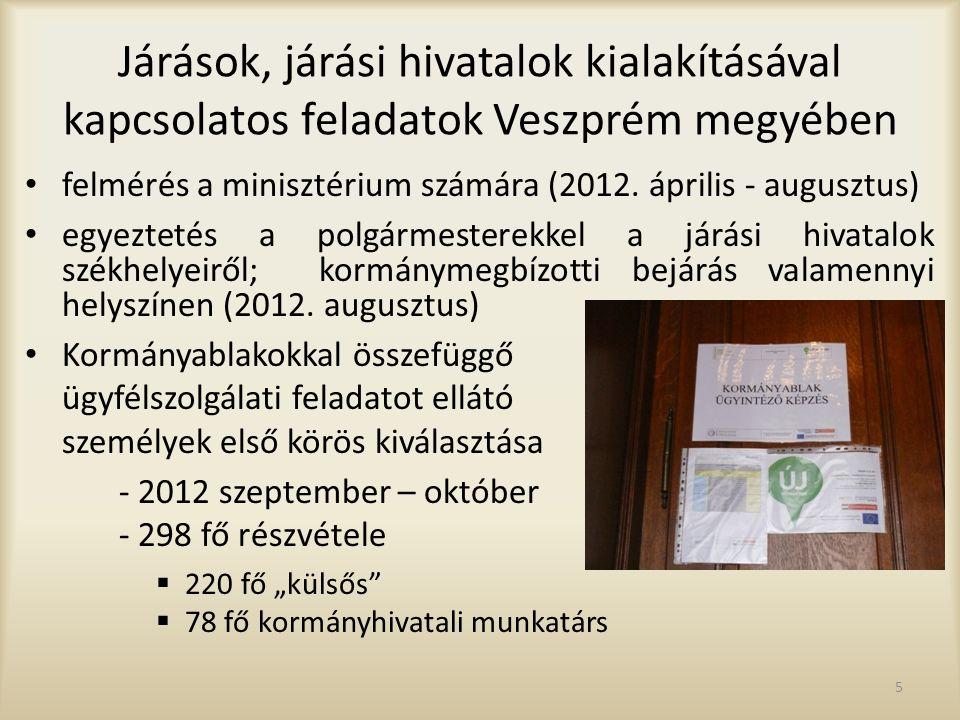 6 Járási rendszer újraindulása Veszprém megyében Megállapodás a kormányhivatal és az önkormányzatok között, amelynek megkötését Veszprém megye az ország első három megyéjének egyikeként valósította meg Veszprém megyében 84 megállapodás született, ebből: -72 (86%) egyhangú képviselő-testületi döntéssel -12 (14%) pedig minősített többségi döntéssel 2012.