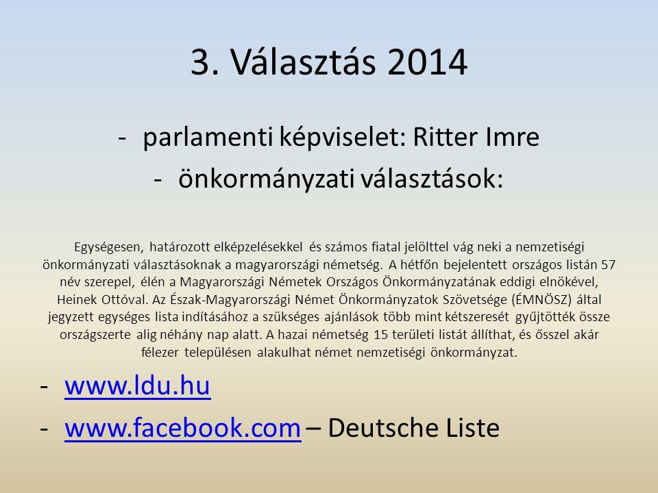 3. Választás 2014 -parlamenti képviselet: Ritter Imre -önkormányzati választások: Egységesen, határozott elképzelésekkel és számos fiatal jelölttel vá
