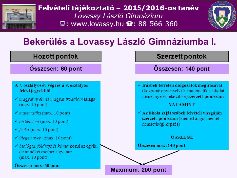 Felvételi tájékoztató – 201 5 /2016-os tanév Lovassy László Gimnázium  : www.lovassy.hu  : 88-566-360 Bekerülés a Lovassy László Gimnáziumba I. Hozo