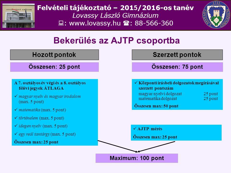 Felvételi tájékoztató – 201 5 /2016-os tanév Lovassy László Gimnázium  : www.lovassy.hu  : 88-566-360 Bekerülés az AJTP csoportba Hozott pontokSzerz