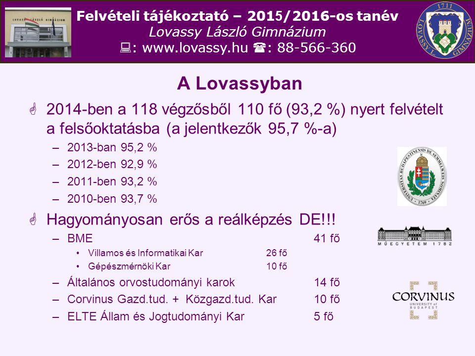 Felvételi tájékoztató – 201 5 /2016-os tanév Lovassy László Gimnázium  : www.lovassy.hu  : 88-566-360 A Lovassyban  2014-ben a 118 végzősből 110 fő