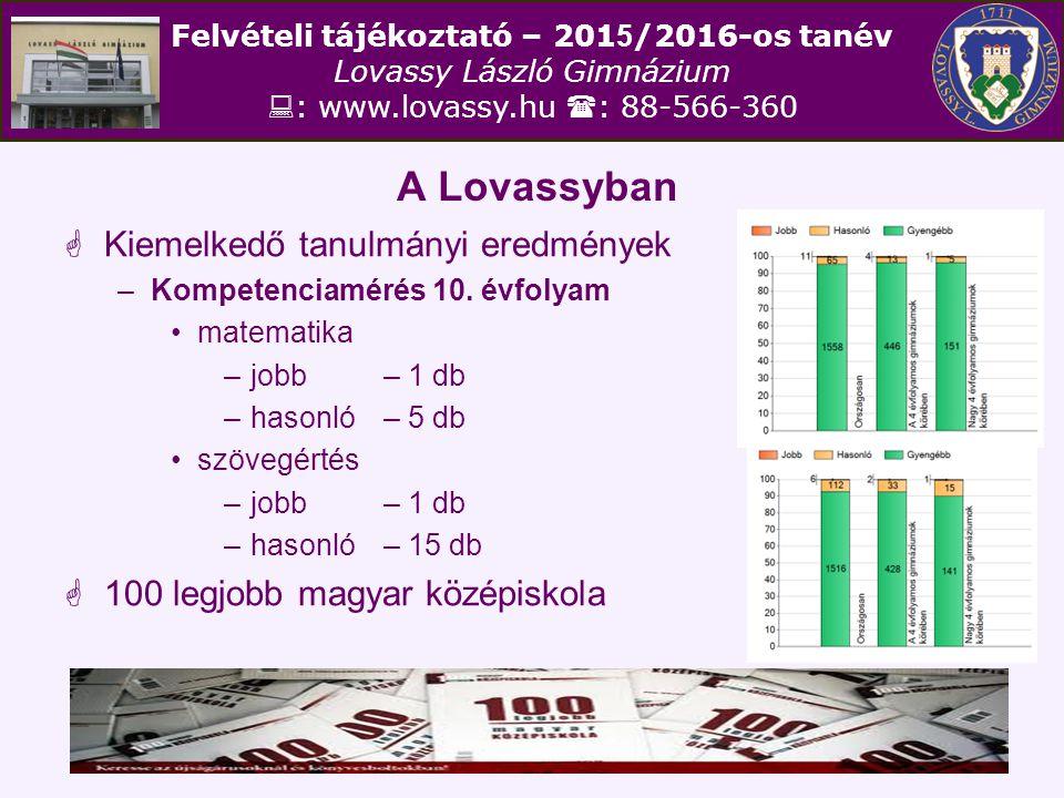Felvételi tájékoztató – 201 5 /2016-os tanév Lovassy László Gimnázium  : www.lovassy.hu  : 88-566-360 Előkészítő évfolyam  Választható idegen nyelvek 1.