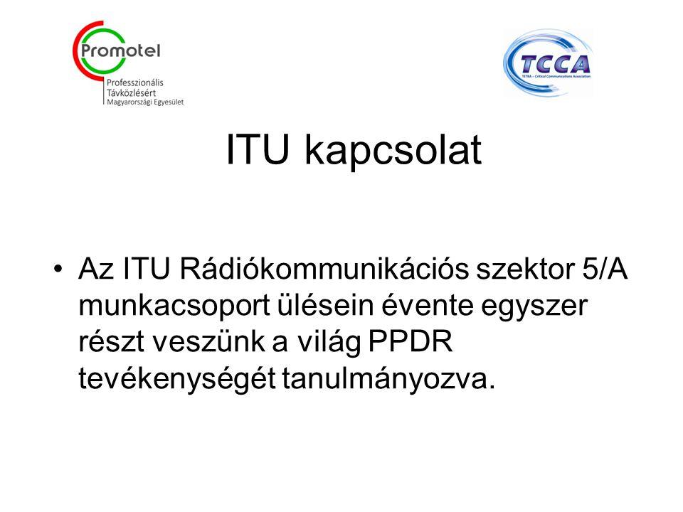 ITU kapcsolat Az ITU Rádiókommunikációs szektor 5/A munkacsoport ülésein évente egyszer részt veszünk a világ PPDR tevékenységét tanulmányozva.
