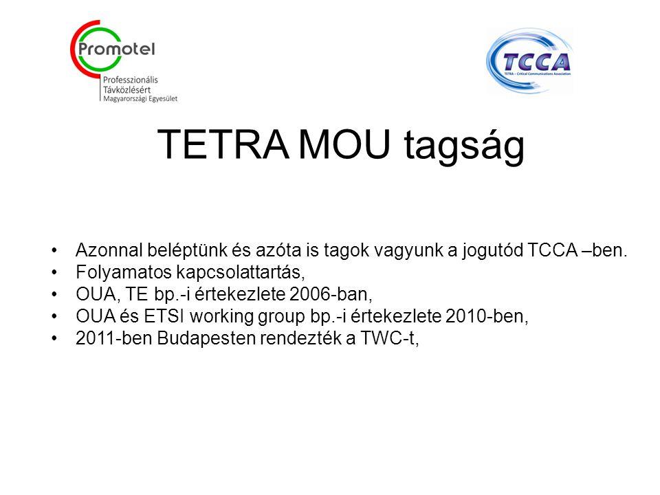 TETRA MOU tagság Azonnal beléptünk és azóta is tagok vagyunk a jogutód TCCA –ben.