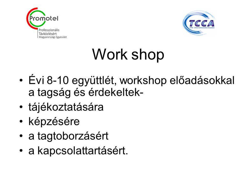 Work shop Évi 8-10 együttlét, workshop előadásokkal a tagság és érdekeltek- tájékoztatására képzésére a tagtoborzásért a kapcsolattartásért.