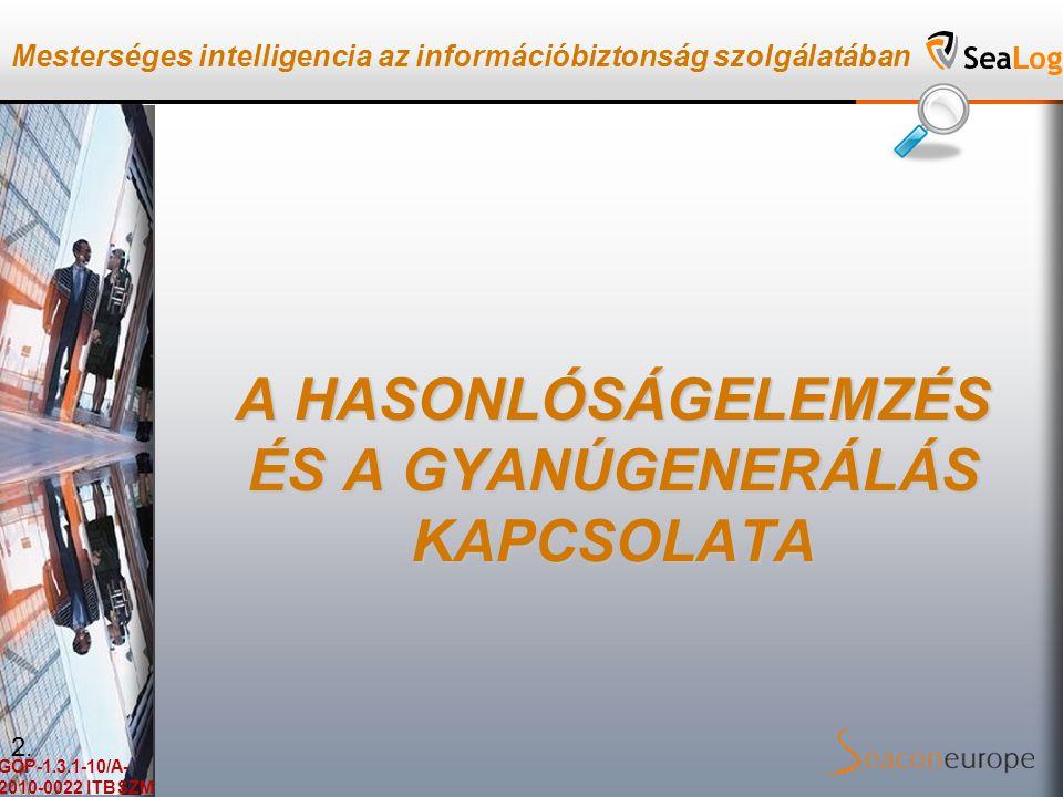 Mesterséges intelligencia az információbiztonság szolgálatában GOP-1.3.1-10/A- 2010-0022 ITBSZM A HASONLÓSÁGELEMZÉS ÉS A GYANÚGENERÁLÁS KAPCSOLATA 2.
