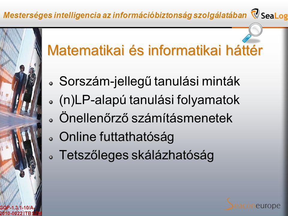 Mesterséges intelligencia az információbiztonság szolgálatában GOP-1.3.1-10/A- 2010-0022 ITBSZM Matematikai és informatikai háttér Sorszám-jellegű tanulási minták (n)LP-alapú tanulási folyamatok Önellenőrző számításmenetek Online futtathatóság Tetszőleges skálázhatóság