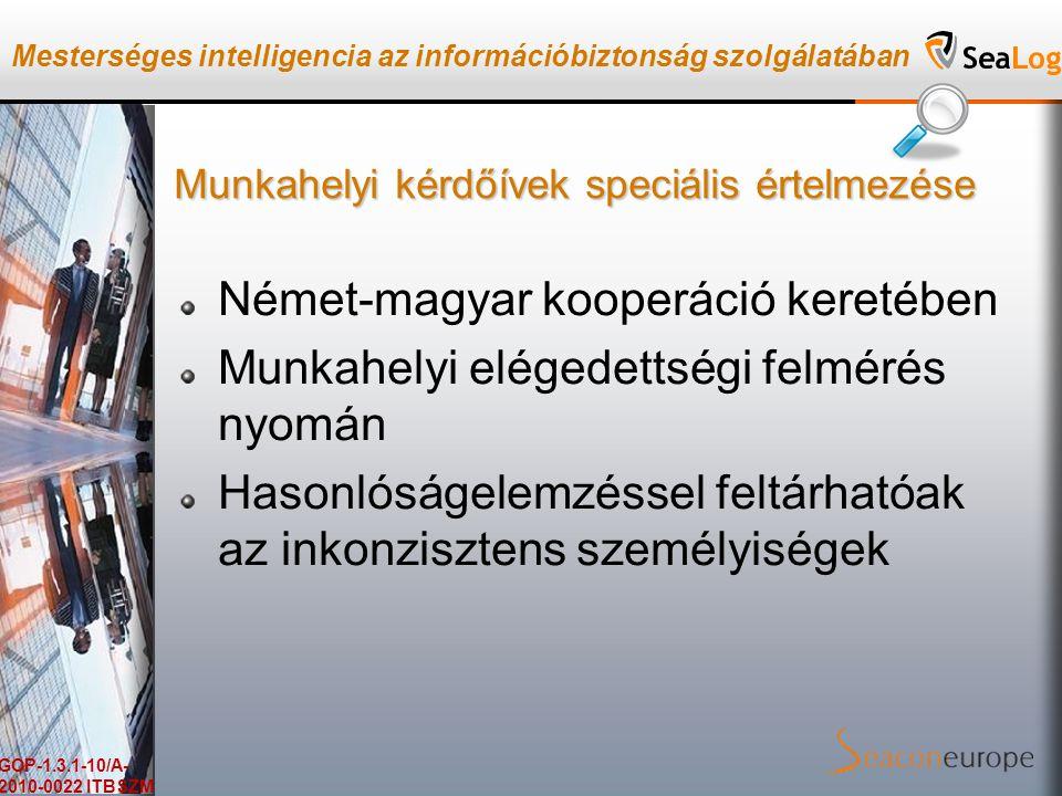 Mesterséges intelligencia az információbiztonság szolgálatában GOP-1.3.1-10/A- 2010-0022 ITBSZM Munkahelyi kérdőívek speciális értelmezése Német-magyar kooperáció keretében Munkahelyi elégedettségi felmérés nyomán Hasonlóságelemzéssel feltárhatóak az inkonzisztens személyiségek